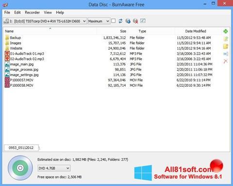 স্ক্রিনশট BurnAware Free Windows 8.1
