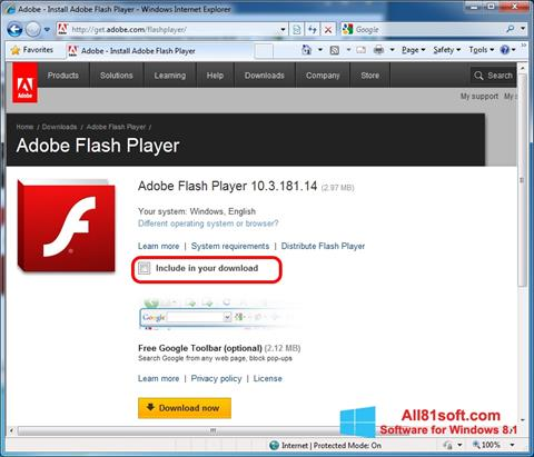 স্ক্রিনশট Adobe Flash Player Windows 8.1
