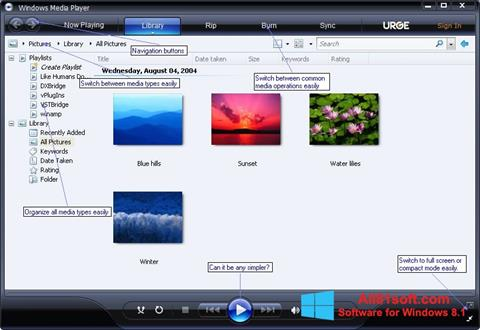 স্ক্রিনশট Media Player Windows 8.1