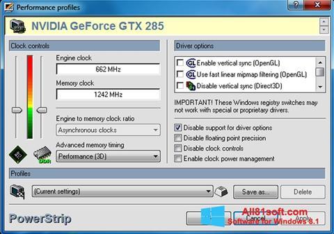 স্ক্রিনশট PowerStrip Windows 8.1