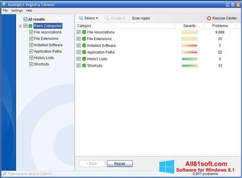 স্ক্রিনশট Auslogics Registry Cleaner Windows 8.1