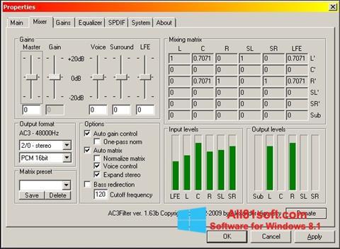 স্ক্রিনশট AC3 Codec Windows 8.1