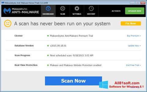 স্ক্রিনশট Malwarebytes Anti-Malware Free Windows 8.1