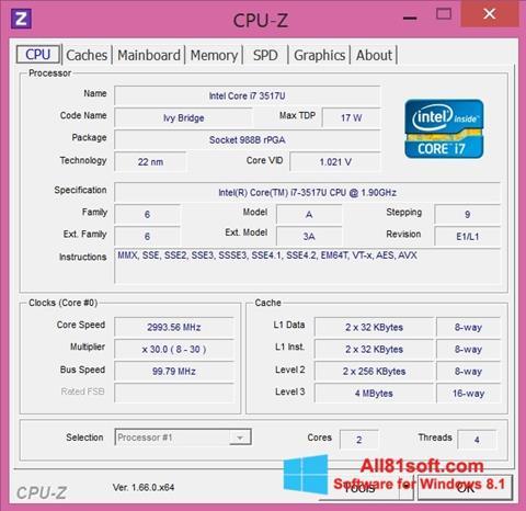 স্ক্রিনশট CPU-Z Windows 8.1