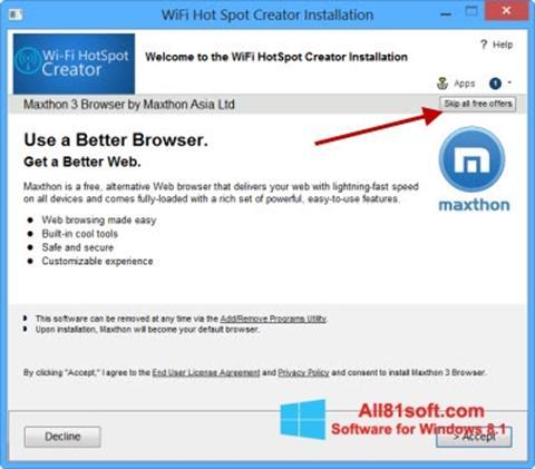 স্ক্রিনশট Wi-Fi HotSpot Creator Windows 8.1