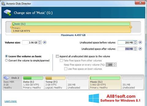 স্ক্রিনশট Acronis Disk Director Windows 8.1