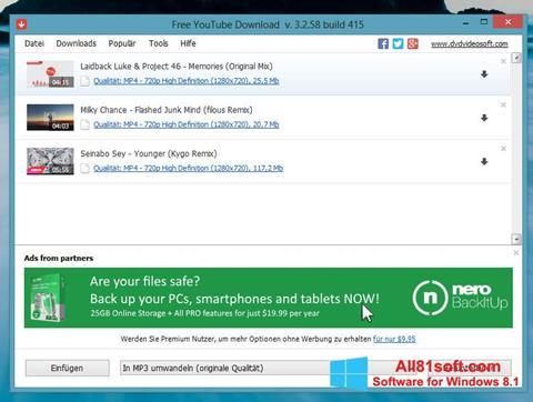 স্ক্রিনশট Free YouTube Download Windows 8.1