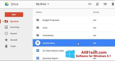 স্ক্রিনশট Google Drive Windows 8.1