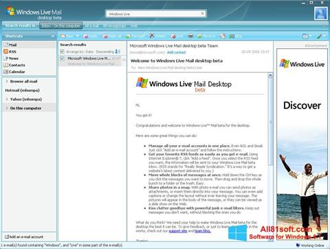 স্ক্রিনশট Windows Live Mail Windows 8.1