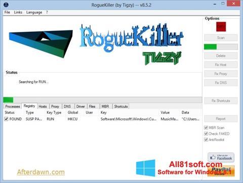 স্ক্রিনশট RogueKiller Windows 8.1