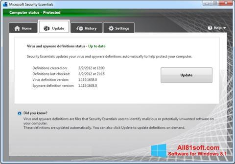 স্ক্রিনশট Microsoft Security Essentials Windows 8.1