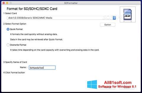 স্ক্রিনশট SDFormatter Windows 8.1