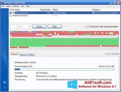 স্ক্রিনশট Auslogics Disk Defrag Windows 8.1