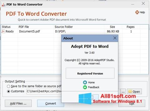 স্ক্রিনশট PDF to Word Converter Windows 8.1
