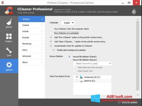 স্ক্রিনশট CCleaner Windows 8.1