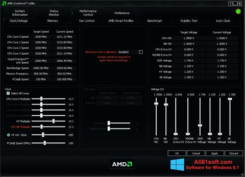 স্ক্রিনশট AMD Overdrive Windows 8.1